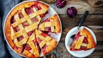 еда, пироги, сливы, пирог, сливовый