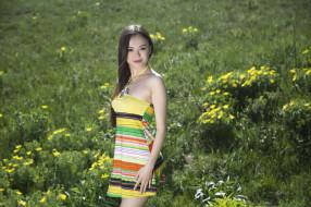 девушки, li moon, поле, азиатка, цветы