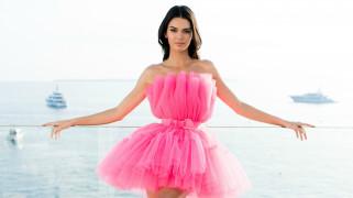 девушки, kendall jenner, розовое, платье