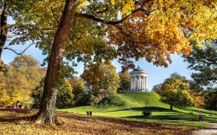 осень, природа, парк, беседка, люди