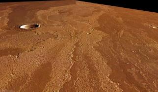 марс, космос, фотография, кратер, бесконечность, путь, вакуум, планета, вселенная, поверхность, грунт, камни, красная, горизонт, пространство, пустыня