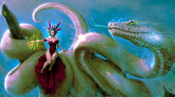 фэнтези, маги,  волшебники, фея, маг, колдовство, магия, дракон, змея, чудовище, волшебная, палочка, монстр, девушка