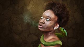 фэнтези, фотоарт, voodoo, колдунья, маг, заклинание, колдовство, нож, африка, негритянка, демон, змея, зелёная, глаза, бельмо
