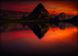 вечер, горы, закат, отражение, небо, багряное, красное, пейзаж, вода, красота