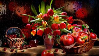 еда, натюрморт, букет, тюльпаны, вишня, корзинка, яблоки