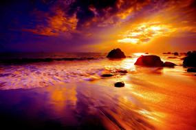закат, море, берег, вода, отражение, золото, лучи, небо, тучи, облака, золотой, солнце, лучи, отражение