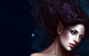 фэнтези, эльфы, девушка, цветок, эльф, лицо