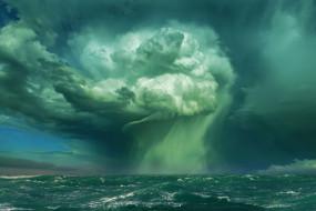 природа, стихия, смерч, шторм, волна, буря, брызги, мощь, ураган, непогода, ветер, сила, океан, море, вода, облака, тучи, бирюза