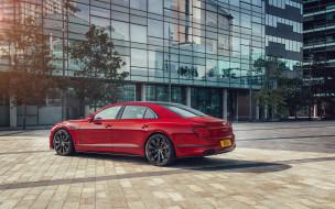 обои для рабочего стола 2560x1600 автомобили, bentley, 2021, flying, spur, вид, сзади, экстерьер, роскошный, седан, новый, красный, британские