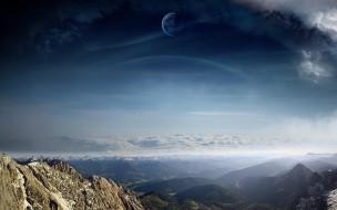 природа, горы, пейзаж, небо, сияние, лес, облака, полнолуние, луна, красота