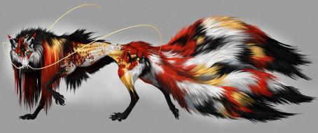 кицунэ, фэнтези, существа, существо, лисица, девятихвостая, мифическое, сказка, вымысел, животное, хищница, мех, хвост