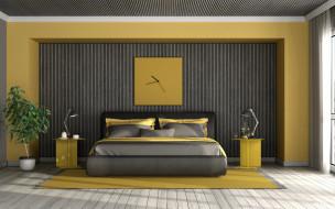 интерьер, спальня, кровать, часы, тумбочки, лампы