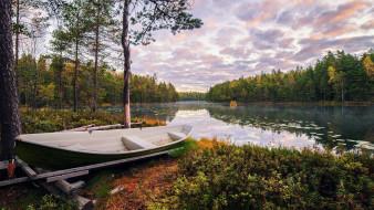 корабли, лодки,  шлюпки, река, лодка, осень