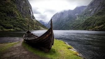корабли, лодки,  шлюпки, горы, лодка, озеро