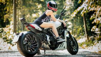 мотоциклы, мото с девушкой, ducati, xdiavel