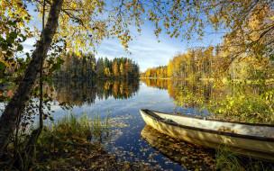 корабли, лодки,  шлюпки, река, лодка, осень, листопад