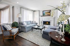 интерьер, гостиная, камин, мягкий, уголок, орхидеи
