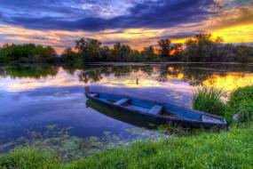 корабли, лодки,  шлюпки, закат, лодка, река