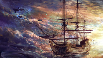 корабли, рисованные, море, судно