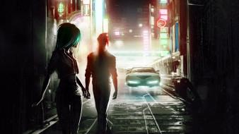 фэнтези, люди, девушка, парень, машина, город, огни