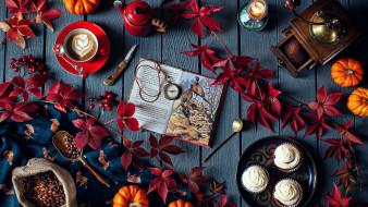 еда, кофе,  кофейные зёрна, книга, розы, бутоны