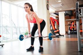 спорт, фитнес, спорзал, штанга, девушка, спортивная, форма