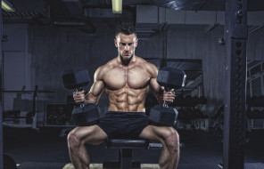 спорт, body building, пресс, мышцы, бодибилдер, гантели, спорзал, мужчина, wallpapersgood