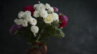 обои для рабочего стола 1920x1080 цветы, розы, ваза, букет