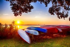 корабли, лодки,  шлюпки, закат, озеро