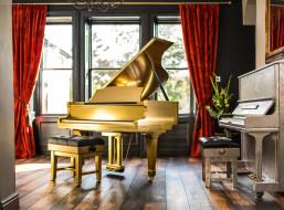 рояль, музыка, -музыкальные инструменты, фортепиано, комната, окно