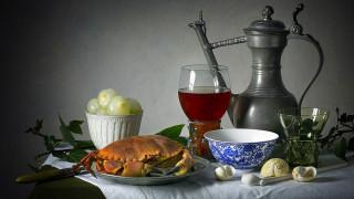 обои для рабочего стола 1920x1080 еда, натюрморт, вино, краб, лук, ракушки
