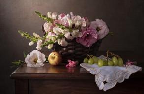 обои для рабочего стола 2000x1299 еда, натюрморт, букет, яблоко, виноград