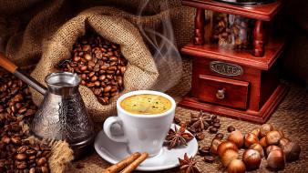 обои для рабочего стола 2560x1440 еда, кофе,  кофейные зёрна, орехи, бадьян, корица, зерна, кофемолка