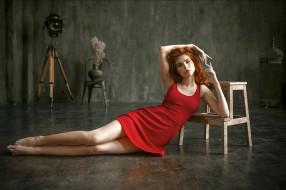девушки, - рыжеволосые и разноцветные, красное, платье