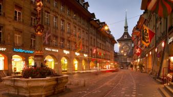 города, берн , швейцария, улица, вечер, огни, фонтан