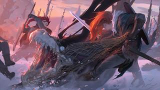 фэнтези, красавицы и чудовища, девушки, сеть, монстр, охота, снег