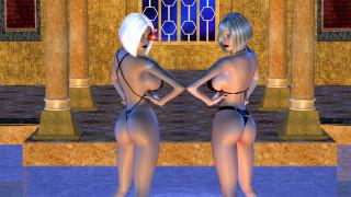 3д графика, фантазия , fantasy, девушки, фон, взгляд, купальник, бассейн