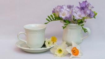 цветы, разные вместе, фрезии, нарциссы