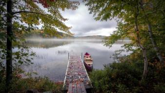 корабли, лодки,  шлюпки, озеро, лодка, осень