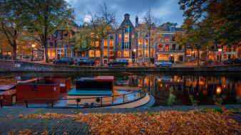 города, амстердам , нидерланды, вечер, огни, осень, канал