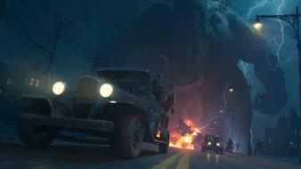 фэнтези, иные миры,  иные времена, машины, люди, город, дорога, монстр, взрыв
