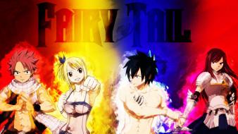 аниме, fairy tail, natsu, dragneel, lucy, gray, erza, scarlet, маги, волшебники