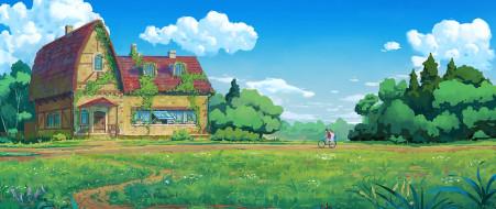 рисованное, денис истомин, дом, деревья, луг, велосипедист