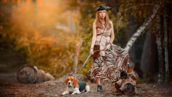 девушки, - рыжеволосые и разноцветные, собака, девушка, лес