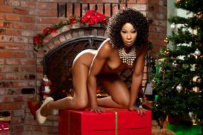 misty stone, эротика, темнокожие, misty, stone, новый, год, подарки, снегурочка, украшения, гирлянды, праздник, красный, девушка, модель, темнокожая, чернокожая, мулатка, причёска, брюнетка, красотка, красавица, флирт, стройная, фигура, сексуальная, секси, поза, взгляд, макияж