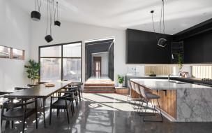 интерьер, кухня, стол, стулья, лампы