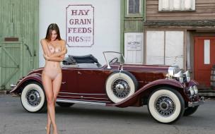 эротика, девушки и автомобили, шатенка, машина, ретро, здание