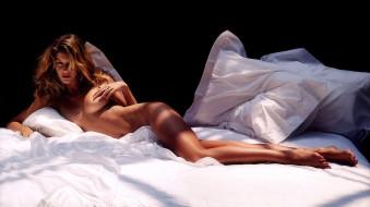 эротика, брюнетки,  шатенки, gisele, bundchen, модель, постель