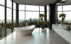 интерьер, ванная и туалетная комнаты, ванна, окна, панорамные