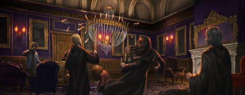 рисованное, кино,  мультфильмы, дети, волшебники, люстра, свечи, комната